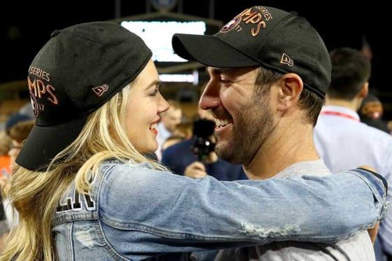 アストロズのジャスティン・バーランダー(右)と妻のケイト・アプトンさん【写真:Getty Images】