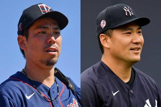 ツインズ・前田健太(左)とヤンキース・田中将大【写真:Getty Images】