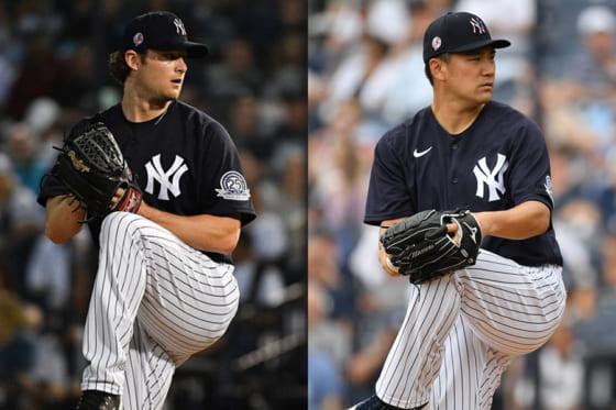 ヤンキースのゲリット・コール(左)と田中将大【写真:Getty Images】