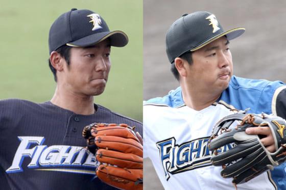 日本ハム・石井一成(左)、横尾俊建【写真:石川加奈子】