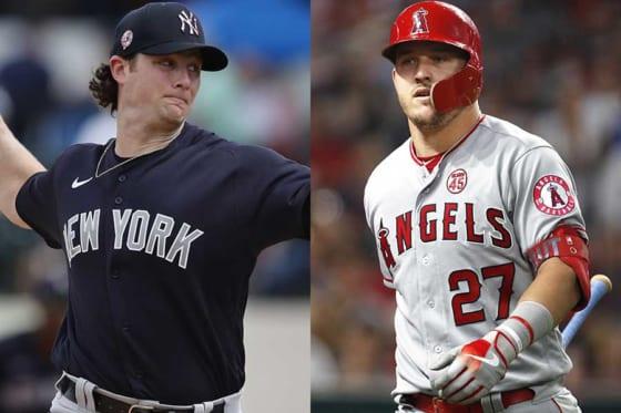 ヤンキースのゲリット・コール(左)とエンゼルスのマイク・トラウト【写真:AP、Getty Images】