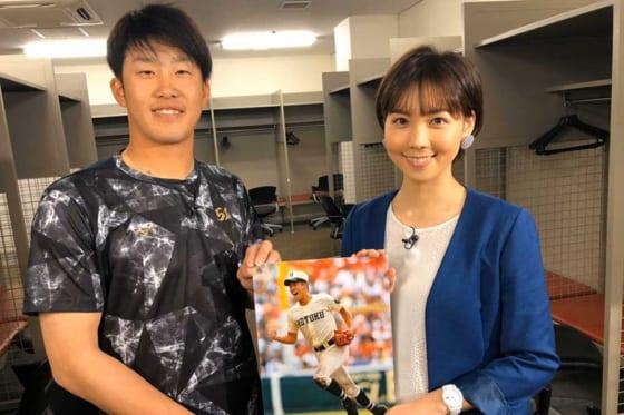 5日深夜1:30~のGetSportsで広島小園を取材したヒロド歩美アナ【写真:本人提供】