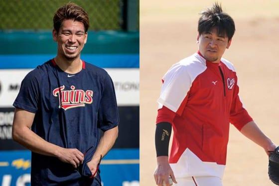 現在はツインズに在籍している前田健太(左)と広島・會澤翼【写真:Getty Images、荒川祐史】