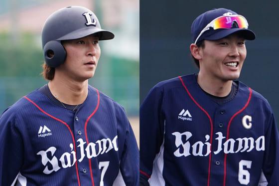西武・金子侑司(左)と源田壮亮【写真:荒川祐史】