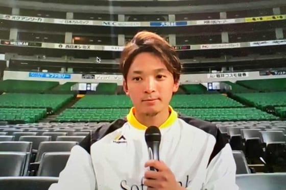 オンライン会見に臨んだソフトバンク・東浜巨【写真:福谷佑介】