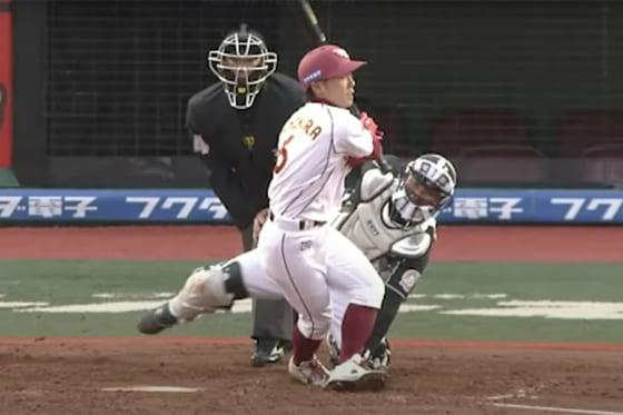 中後の投球は打者の足を直撃も空振りの判定に【画像:パーソル パ・リーグTV】