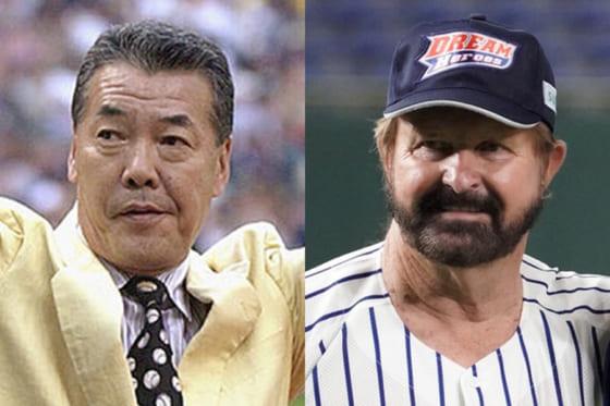 シーズン106盗塁を記録した福本豊氏(左)、シーズン打率.389のランディ・バース氏【写真:Getty Images、荒川祐史】