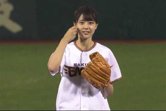 始球式に臨んだ「STU48」初代センターの瀧野由美子さん【写真:パーソル パ・リーグTV】