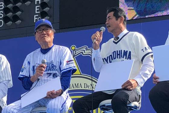 2019年のファンフェスティバルに出席した田代富雄氏(左)と屋鋪要氏【写真:編集部】