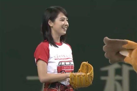 始球式に臨んだ女優の桜庭ななみさん【画像:パーソル パ・リーグTV】