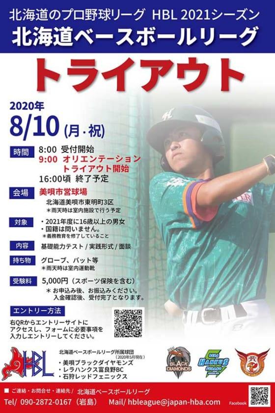 北海道ベースボールリーグは8月10日にトライアウトを行う【画像提供:北海道ベースボールリーグ】