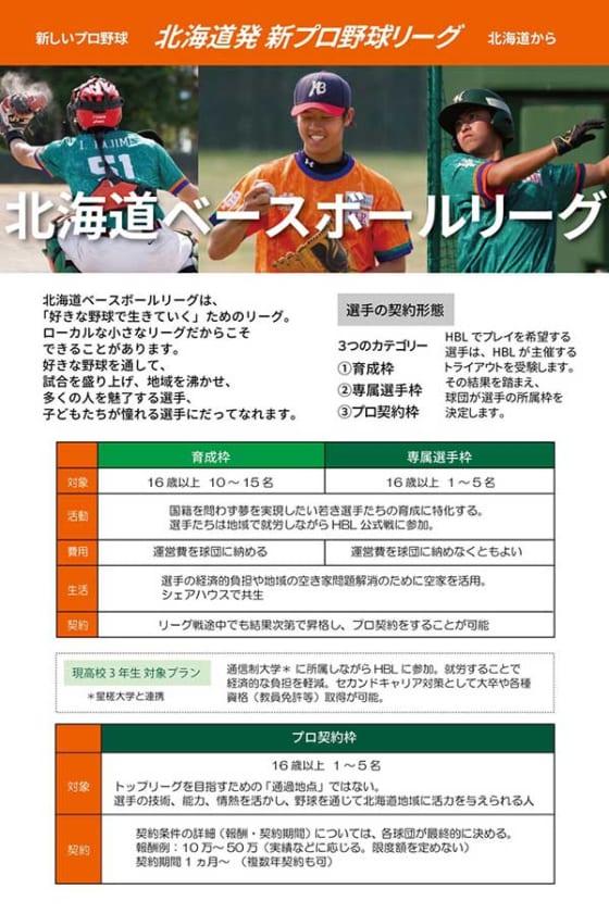 北海道ベースボールリーグ選手契約の概要【画像提供:北海道ベースボールリーグ】