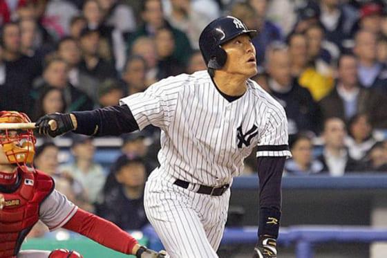 2003年にヤンキースに入団した松井秀喜氏【写真:Getty Images】