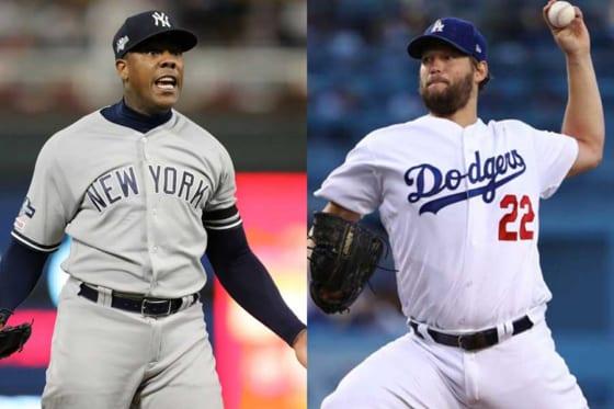 ヤンキースのアロルディス・チャップマン(左)とドジャースのクレイトン・カーショー【写真:Getty Images】