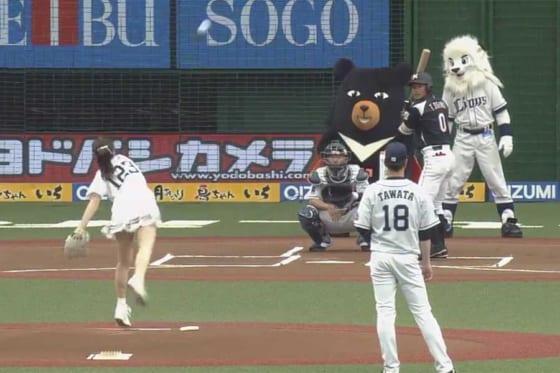 始球式を務めた声優の芹澤優さん【画像:パーソル パ・リーグTV】