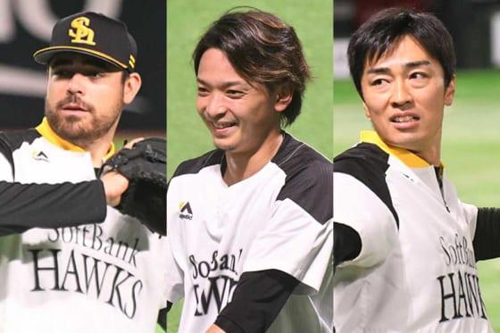ソフトバンクのマット・ムーア、東浜巨、和田毅(左から)【写真:藤浦一都】
