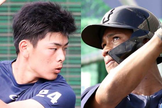 日本ハム・野村佑希と万波中正(左から)【写真:石川加奈子】