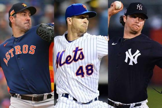 アストロズのバーランダー、メッツのデグロム、ヤンキースのコール(左から)【写真:Getty Images】