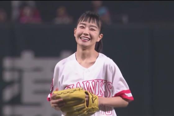 始球式に登場した女優の奈緒さん【画像:パーソル パ・リーグTV】
