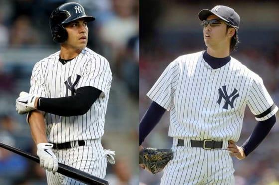ヤンキースでプレーしたジャコビー・エルズベリー(左)と井川慶【写真:Getty Images】