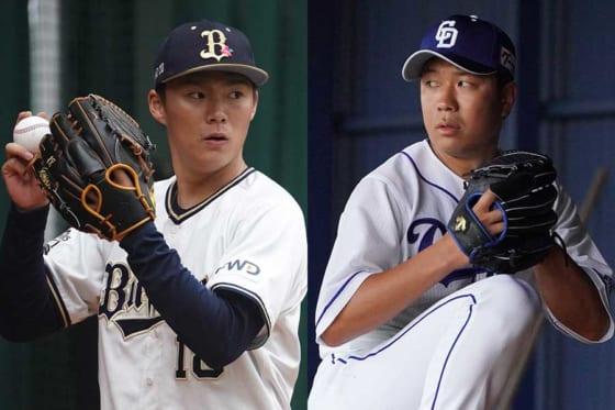 オリックス・山本由伸(左)と中日・大野雄大【写真:荒川祐史】