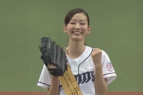 始球式に登場した川辺優紀子さん【画像:パーソル パリーグTV】