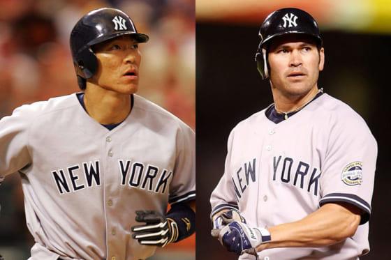 ヤンキース時代の松井秀喜氏(左)とジョニー・デーモン氏【写真:Getty Images】