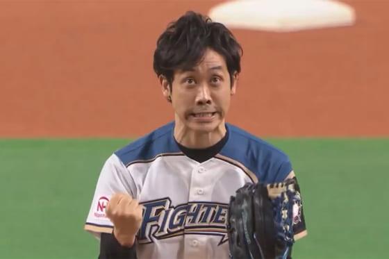始球式に登場した大泉洋さん【画像:パーソル パ・リーグTV】
