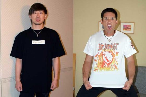 自身がプロデュースしたTシャツを着た日本ハム・金子弌大(左)と杉谷拳士【写真提供:北海道日本ハムファイターズ】