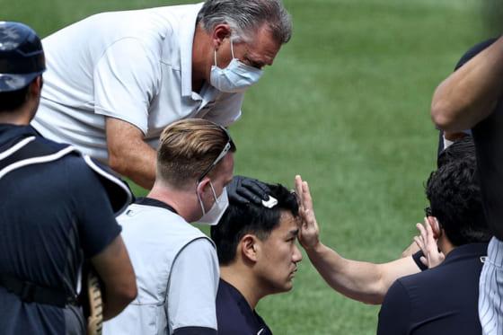 頭部に打球が直撃したヤンキース・田中将大【写真:Getty Images】