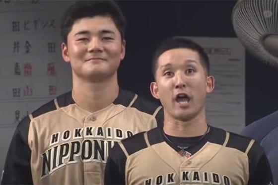 日本ハム・清宮幸太郎(左)と杉谷拳士【画像:パーソル パリーグTV】