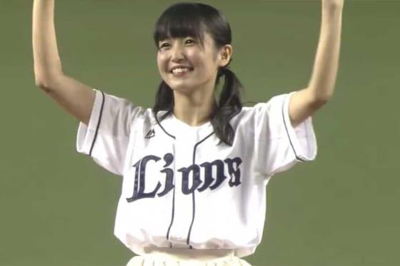 始球式に登場したSKE48・惣田紗莉渚さん【画像:パーソル パ・リーグTV】