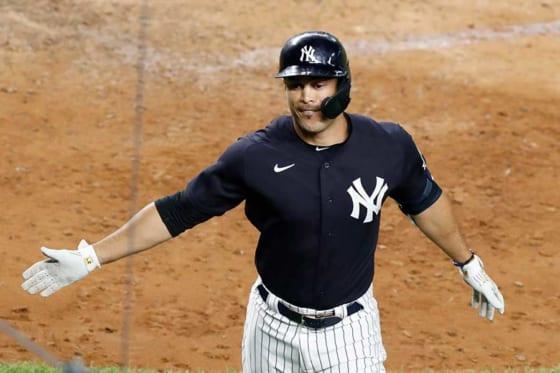 練習試合で特大の本塁打を放ったヤンキースのジャンカルロ・スタントン【写真:AP】
