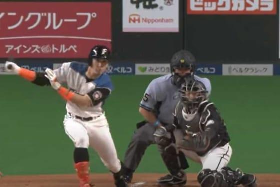 19日のロッテ戦で2安打2打点と活躍した日本ハム・杉谷拳士【画像:パーソル パリーグTV】