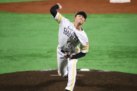 日本ハム戦に2番手として登板したソフトバンク・板東湧梧【写真:福谷佑介】