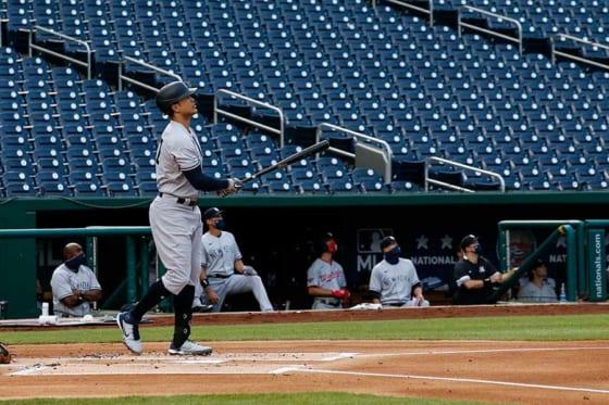 今季のMLB第1号となる本塁打を放ったヤンキースのジャンカルロ・スタントン【写真:AP】