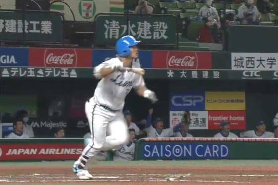 プロ初本塁打を放った西武・川越誠司【画像:パーソル パリーグTV】