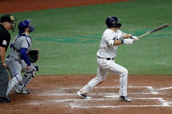 第3打席でMLB初安打初本塁打を放ったレイズ・筒香嘉智【写真:AP】