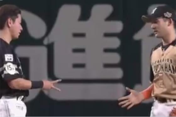 ジャンケンする日本ハム・杉谷拳士(右)とソフトバンク・川島慶三【画像:パーソル パ・リーグTV】