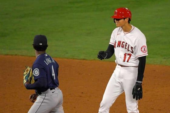 7回に今季初盗塁を決めたエンゼルス・大谷翔平【写真:AP】