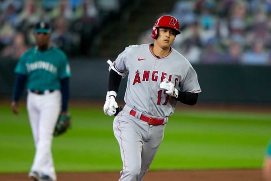 第1打席で本塁打を放ったエンゼルス・大谷翔平【写真:Getty Images】
