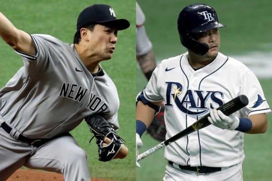 ヤンキース・田中将大(左)とレイズ・筒香嘉智【写真:AP】