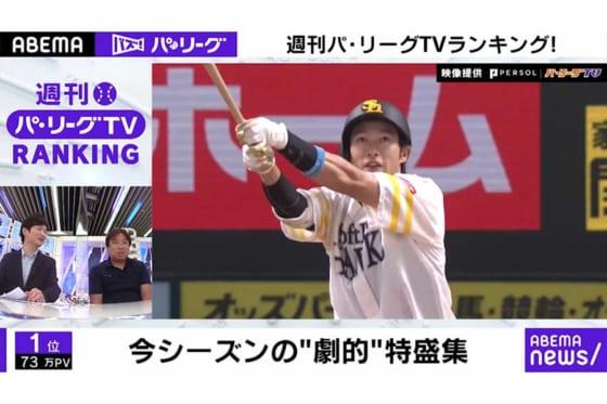 「ABEMA バズ! パ・リーグ」ランキングを発表【画像:パーソル パリーグTV】