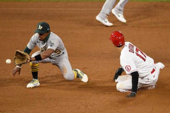 「5番・DH」で先発出場し2安打1盗塁と活躍したエンゼルス・大谷翔平【写真:AP】
