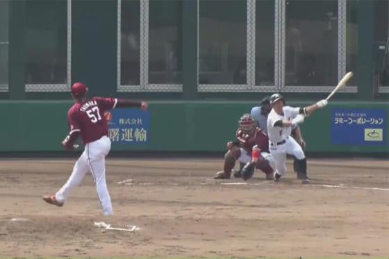 適時二塁打を放ったロッテ・荻野貴司【画像:パーソル パ・リーグTV】