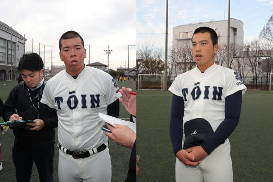 大阪桐蔭・西野力矢(左)と仲三河優太【写真:津高良和】