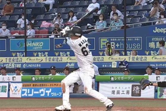 プロ初安打を含む3安打と活躍したロッテ・和田康士朗【画像:パーソル パリーグTV】