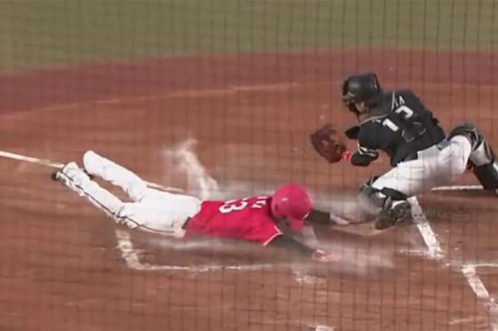 一塁からホームに生還したロッテ・和田康士朗【画像:パーソル パリーグTV】