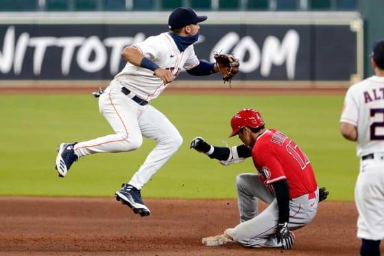 敵地アストロズ戦のWヘッダー第2試合目で右中間2点二塁打を放ったエンゼルス・大谷翔平【写真:Getty Images】