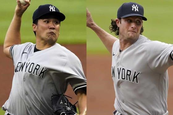 ヤンキース・田中将大とゲリット・コール(左から)【写真:AP】